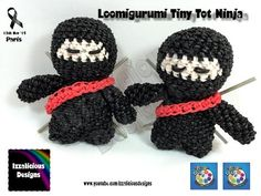 Loomigurumi Ninja Tiny Tot Figure - hook only - amigurumi with Rainbow Loom Bands - YouTube