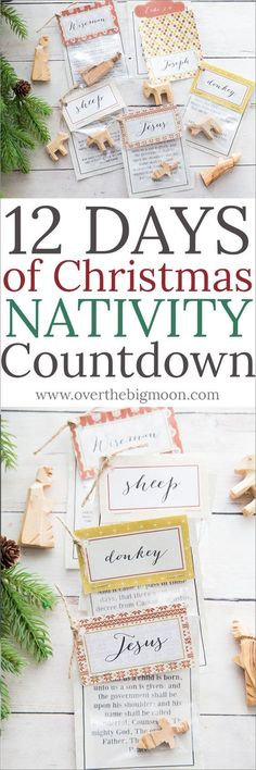 12 Days of Christmas Nativity Countdown with printable bag toppers and scriptures! Give it to your family or gift it to a neighbor or friend for 12 days! This is the perfect Christmas tradition! From overthebigmoon.com!