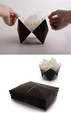 origami microwave popcorn design that folds out into a bowl. An origami microwave popcorn design that folds out into a bowl. Popcorn Packaging, Packaging Box, Clever Packaging, Food Packaging Design, Paper Packaging, Packaging Design Inspiration, Brand Packaging, Origami, Food Design