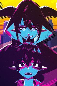 Mephisto Pheles and Amaimo Pop Art Poster Print Blue Exorcist Mephisto, Ao No Exorcist, Retro Poster, My Neighbor Totoro, Spotify Playlist, Cockatoo, Anime Boys, Weird, Cartoons