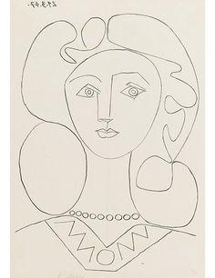 La femme au collier, 1947. Signed lithograph.