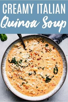 This Creamy Italian Quinoa Soup is not only amazingly delicious, but it's also packed with protein, fiber and essential vitamins and antioxidants. Quinoa Recipes Easy, Vegetarian Recipes Dinner, Healthy Soup Recipes, Cooking Recipes, Vegetarian Vitamins, Vegetarian Dishes Healthy, Italian Soup Recipes, Corn Soup Recipes, Quinoa Dishes