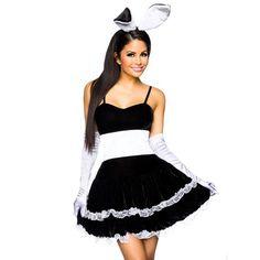 Sexy Halloween Play Girl Bunny Maid Costume For Women Lovely Female Miniskirt Lolita Maid Outfit Sexy Party Costumes Cosplay Girls Bunny Costume, Bunny Girls, French Maid Halloween, French Maid Costume, Fancy Black Dress, Maid Cosplay, Female Cosplay, Black Costume, Maid Outfit
