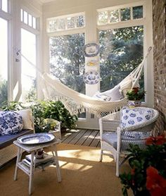 porches cozy home sun porch decorating ideas Indoor Hammock, Decor, House With Porch, Sunroom Designs, Apartment Patio, Home Decor, Building A Porch, Porch Decorating, White Decor