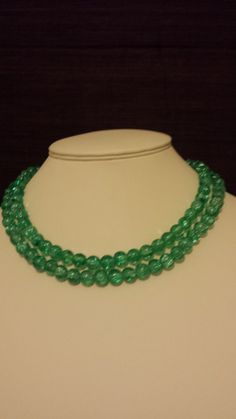 Beautiful tiffany green crackle glass long beaded by VickysBeauty