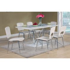 Have this elegantly designed Hagley White High Gloss Top #DiningTable and 6 #DiningChairs with chrome finish. This is a 'must have' luxury to add in any modern dining room.