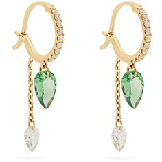 Raphaele Canot Set Free diamond, tsavorite & yellow-gold earrings ($3,996) ❤ liked on Polyvore featuring jewelry, earrings, diamond earrings, earring jewelry, diamond jewelry, diamond jewellery and yellow gold earrings