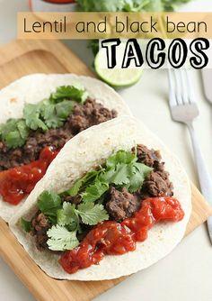 Lentil and black bean tacos (vegan!)