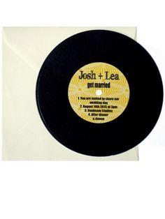 Vinyl disc retro wedding invitations