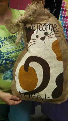 Cat burlap door hanger