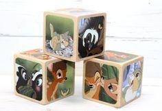 Bambi Wooden Blocks  Wood Baby Blocks  Baby by Booksonblocks