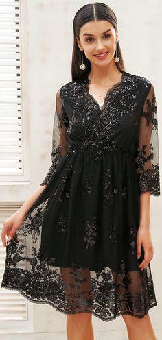 9104b381eba Simplee V neck long sleeve sequin party dresses women Sexy mesh streetwear  christmas midi dress female 2017 autumn dress vestido