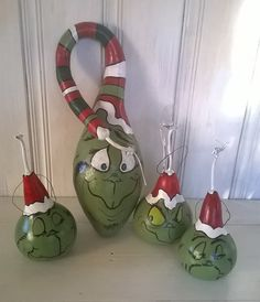 Grinch Gourd Inspired by Dr. Suess s The Grinch Who Stole Christmas Decoration Christmas Art READY TO SHIP: you get the big one in the