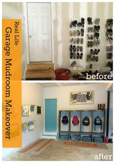 Garage Mudroom Makeover. Love the blue door and the picture hanging in the garage.
