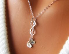 Personalized Infinity Necklace, Heart Charms With Initials, To Infinity And Beyond Sterling Silver Jewelry Boxed Gift. $36.50, via Etsy.