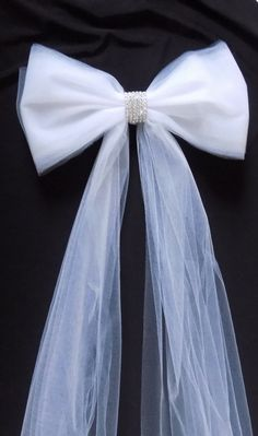 Pew Bows in Tulle with Rhinestones Pew by shannonkristina on Etsy