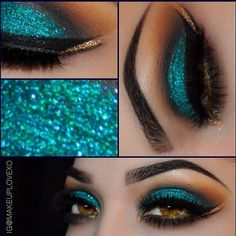 Peacock inspired eye make up. Turquoise and orange eye makeup. Glamorous wedding make up. Boho Bride make up. Wild bride make up Gorgeous Makeup, Pretty Makeup, Love Makeup, Makeup Inspo, Makeup Looks, Hair Makeup, Makeup Ideas, Prom Makeup, Bridal Makeup