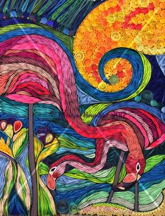 Aloha, Colleen Wilcox shares her flamingo art for quilled paper interpretation by Kristen Brunton Paper Quilling Patterns, Quilled Paper Art, 3d Quilling, Quilling Designs, Paper Mosaic, Bird Quilt, Flamingo Art, Paper Animals, Quilling Techniques