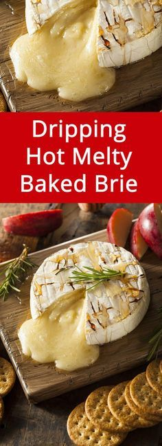 Easy Baked Brie Cheese With Honey Appetizer is part of Holiday appetizers Brie - This baked brie is dripping with hot oozing melted cheese! Everyone loves baked brie, this is a perfect easy appetizer to make for any gathering! Brie Cheese Recipes, Baked Brie Recipes, Honey Recipes, Baked Brie Recipe Easy, Baked Food, Jalapeno Recipes, Baked Cheese, Baked Brie Appetizer, Best Appetizers