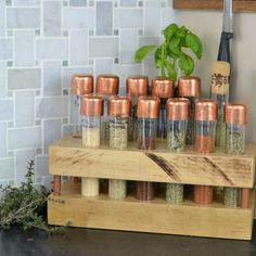 A creative way to organize your most used spices. Created using test tubes, copper accents, and butcher block.