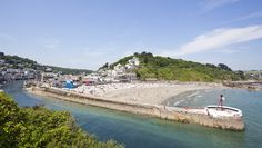 "Looe, Cornwall, showing the ""Banjo Pier""."