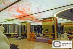 Hilton Bangkok Lobby. Thailand. Installer: Chingchai & Sons Engineering. Architect: PIA Interior. Materials: Translucent fabric and P-CW profile.