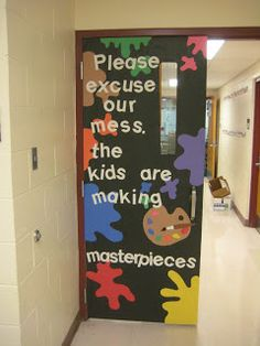 Tales from the Traveling Art Teacher!: Art Room -- Cool art room door decorating idea!