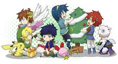 Super Smash Bros christmas  Link, Pit, Kirby, Pikachu, Ike, Marth and Roy