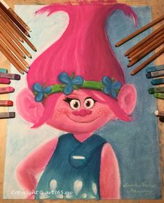 Ms Poppy from Trolls - speed drawing video - Art365