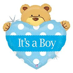 Boy Teddy Bear - Baby Shower Mylar Balloon | BigDotOfHappiness.com #BigDot #HappyDot