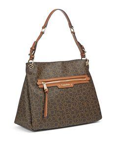 CALVIN KLEIN Calvin KleinHudson Signature Hobo Bag. #calvinklein #bags #shoulder bags #leather #hobo #