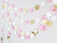 Twinkle Twinkle Little Star Paper Garland Pink Yellow Girl 1st Birthday Party Decor Baby Shower Cake Smash Backdrop Cheap Bridal Shower -- Amaizing pink stars garland is perfect for the girls birthday party, cake smash, baby shower, wedding decor and bridal shower. You can use garland for