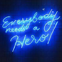 Hero neon sign blue