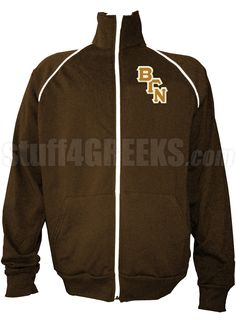 Brown Beta Gamma Nu track jacket with logo letters on the left breast.
