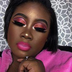 Pink Lips Makeup, Dark Skin Makeup, Eye Makeup, Beauty Makeup, Beauty Tips, Black Makeup, Pink Eyeshadow, Colorful Eyeshadow, Makeup Geek