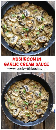 The best mushroom recipe you will ever try. This can be served as side dish along with bread, tossed with pasta for delicious meal or dinner or even as evening snack. This creamy & flavorful dish is ready in less than 25 minutes.   #sidedish #glutenfreerecipes #mushroomrecipes #mushroompasta #garliccreamsauce #pastasauce  #garlicsauce #garlicbuttersauce #creamygarlicchicken #summerfood #thanksgivingsidedishes #holidaydinner #mealplan #dinnerparty #stirfry #weeknightdinner #spaghetti… Mushroom Side Dishes, Vegetable Side Dishes, Vegetable Recipes, Vegan Recipes Easy, Easy Dinner Recipes, Vegetarian Recipes, Easy Meals, Eggless Recipes, Dinner Ideas