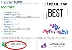"""As always MPA rocks!!! Paying since March 2015 Advertising with revenue share Ad packs from 5$ roi 120% Min cash out 5$ register here  https://www.mypayingads.com/ref/552/signup  """"My results are not typical: This proof of earnings is not a guarantee that you would earn the same, but it is possible to earn this much or more with an equal or greater strategy and work ethic."""""""