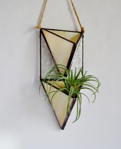 Vertical Garden, Wall Plant Holder Terrarium, Air Plant Holder, Hanging Planter, Stained Glass Geometric Plant Holder, Glass Terrarium