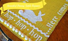 DIY Stenciled Burlap Bunny Table Runner by Serendipity Refined