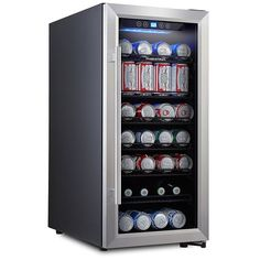 Phiestina 106 Can Compressor Beverage Cooler Stainless Steel and Glass Door with - The Home Depot