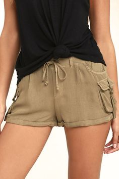 Designer Clothes, Shoes & Bags for Women Outfits For Teens, Plus Size Outfits, Cargo Shorts Women, Beige Shorts, Soft Pants, Jeans Dress, Denim Fashion, Street Style, Clothes For Women