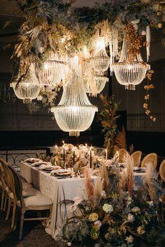 Reception Table, Reception Decorations, Event Decor, Wedding Reception, Farm Wedding Themes, Chandelier Wedding Decor, Wedding Lighting, Halle, Luxe Wedding