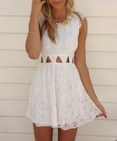 Cute Lace Cut Out Dress