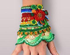 Crochet Bracelet Cuff Blue White Beaded by SvetlanaCrochet