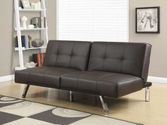 Mainstays Faux Leather Tufted Convertible Futon Brown Walmartcom