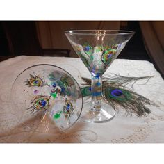Painted Peacock Feathers Cocktail Glasses, Hand Painted Martini... ($28) ❤ liked on Polyvore featuring home, kitchen & dining, drinkware, martini glasses, martini glass, painted martini glass, painted martini glasses and martini cocktail glasses