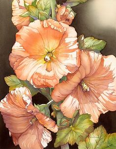 Stunning rendering of #flowers. If you want to bring in a bit of sensuality and delicacy into you life, hang this on your wall. #Watercolour (?). Art of Barbara Groenteman