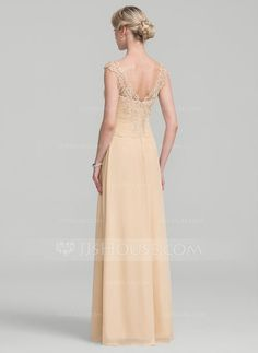 A-Line/Princess Floor-Length Split Front Cascading Ruffles Zipper Up Cap Straps Sleeveless No Champagne General Plus Chiffon Lace Mother of the Bride Dress