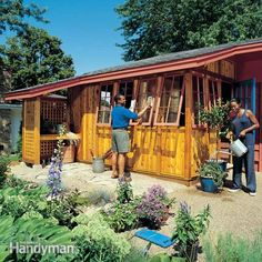 this spacious cedar garden shed has tons of storage space for lawn and garden tools plus shelves for supplies, a potting bench and windows. it