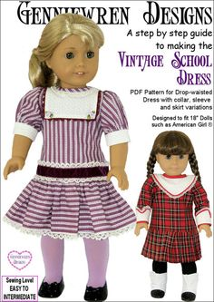 "VINTAGE SCHOOL DRESS 18"" DOLL CLOTHES"
